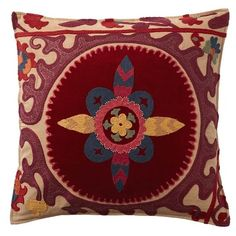 Pottery Barn Suzani Applique Embroidered Pillow Cover ($70) ❤ liked on Polyvore featuring home, home decor, throw pillows, pottery barn throw pillows, pottery barn, suzani throw pillows and embroidered throw pillows