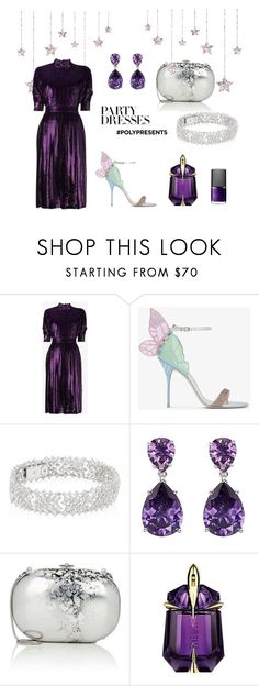 """#PolyPresents: Party Dresses"" by amirahayu on Polyvore featuring Prada, Sophia Webster, Adriana Orsini, CZ by Kenneth Jay Lane, Jeffrey Levinson, Thierry Mugler, NARS Cosmetics, contestentry and polyPresents"