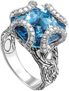 John Hardy Batu Classic Chain Silver Medium Braided Ring with London Blue Topaz