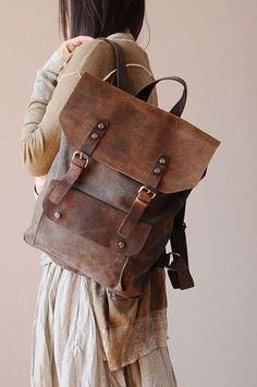 Coffee Leather-canvas backpack /Leather bag/Canvas bag /Shopping bag/ Stitch… …