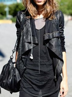Drape front leather jackets.