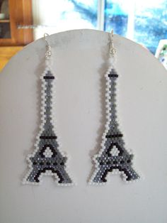 Beaded Eiffel Tower Earrings Ready to Ship by BeadedCreationsetc, $25.00