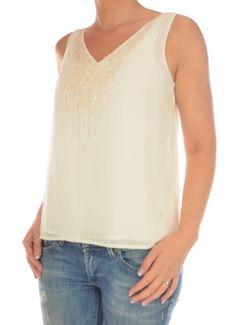 SINGLET DAMES SECRET SL SHIRT TN ecru / off white Vero Moda