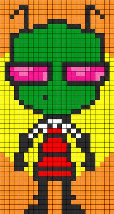 Zim Perler Bead Pattern | Bead Sprites | Characters Fuse Bead Patterns