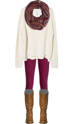 Scarf, white sweater, purple leggings, and add a pair of Teva Capistrano Boots.