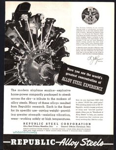 1941 AIRCRAFT ENGINE Republic Alloy Steel Vintage AD
