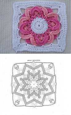Square motive with a flower in the middle. Crochet Quilt Pattern, Crochet Squares Afghan, Granny Square Crochet Pattern, Crochet Diagram, Crochet Motif, Crochet Designs, Crochet Flowers, Crochet Stitches, Crochet Flower Squares