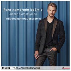Para produções noturnas: blazer de chamois e black jeans! #diadosnamoradosaramis #estiloaramis #aramismenswear #inverno2014