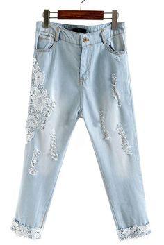 Light Blue Low Waist Ripped Lace Denim Pant