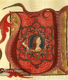Initial capital letter U depicting the figure of a lady, miniature from a Medieval manuscript, Italy 14th Century.