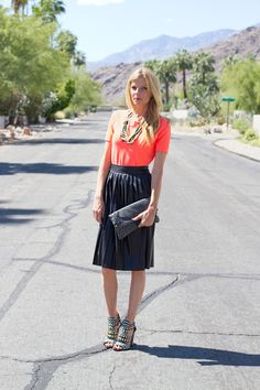 My Style: Faux Leather Midi & Studded Shoes :: Smitten Studio