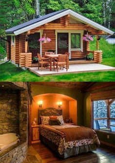 Granny pods guest houses Id love to have a small cabin either in a location like Colorado or somewhere like Yellowstone. Small Log Cabin, Tiny Cabins, Little Cabin, Tiny House Cabin, Log Cabin Homes, Cabins And Cottages, Tiny House Living, Tiny House Plans, Tiny House Design