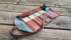 Leather Pencil Roll / Cognac tone / 24 ct by UpshotArchery on Etsy