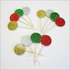 #Christmas #Party Glitter #Cupcake Toppers