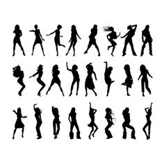 Dancing Girls Silhouettes Vector Silhouettes ❤ liked on Polyvore
