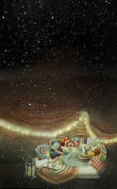 밤하늘, 별이 온세상에 반짝거려서 두근두근 맘이 설레여 이런날엔 쉽게 잠에 들지 못할것 같아. 별이 쏟아질것만 같던 날