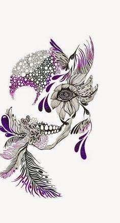 Afbeeldingsresultaat voor beautiful skull tattoos for women