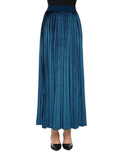 39dc23c7b1 Adidome Women High Waist Solid Velvet Casual Maxi Long Pleated Skirt * BEST  VALUE BUY on Amazon