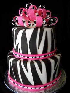Happy 30th! pink zebra, celebration cakes, pink cakes, 1st birthday cakes, 1st birthdays, zebra cakes, zebra birthday, fondant cakes, birthday ideas