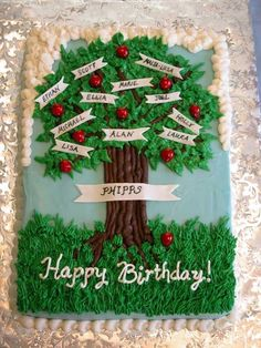I must give all credit for this design to Tripletmom. I saw her great family tree cake in the gallery and knew it was perfect for my Dad's birthday. Thanks for the inspiration! He loved the cake. Cake is 9X13 carrot cake with cream cheese frosting. Apples and banners are gumpaste.