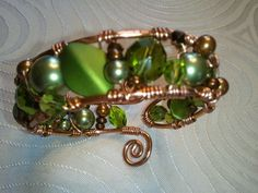 Wire Cuff Bracelet - green. $45.00, via Etsy.