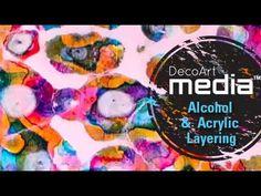 Brilliant technique layers of fluid acrylics and drips of rubbing alcohol. DecoArt Media Fluid Acrylics