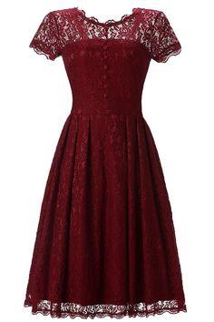 G Marry Women's Retro Floral Lace Cap Sleeve Vintage Bridesmaid Party Dress -- Unbelievable  item right here! : Dresses