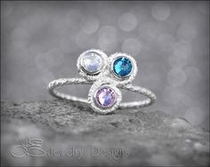 Triple Swirl Birthstone Ring  - mothers ring  - by LEJewelryDesigns