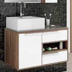 Gabinete para Banheiro Itatiaia Luna IGBD1G2 80 (Não Acompanha Cuba) Carvalho Marsala/Branco Laca