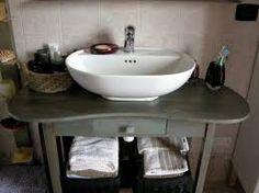 Esto es nuestro lavabo. Debajo hay un mueble donde poner las toallas. Sobre del lavabo tenemos un espejo.