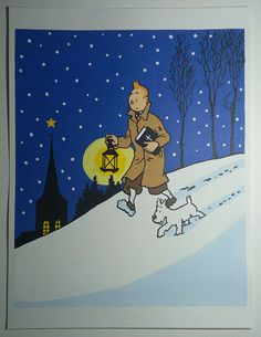 Tintin Snowy Painting, Tintin Drawing, Tintin and Milou, Original Acrylic Painting, Tintin Christmas, The Adventures Of Tintin, Gift Ideas