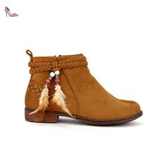 Cendriyon, Bottines Simili peau Camel PLUME Chaussures Femme Taille 37 - Chaussures cendriyon (*Partner-Link)