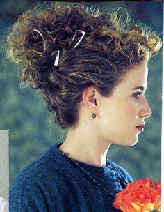 Curly hair up-do. Curly Hair Styles, Curly Hair Updo, Curly Hair Tips, My Hairstyle, Natural Hair Styles, Curly Hair Problems, Hair 24, Curl Styles, 90s Hairstyles