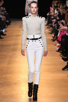Isabel Marant | Fall 2015 Ready-to-Wear | 02 White long sleeve sweater and high-waist trousers