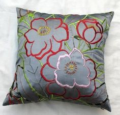 Gray taffeta (faux silk ) cushion with beautiful floral embroidery STOCK CLEARANCE SALE