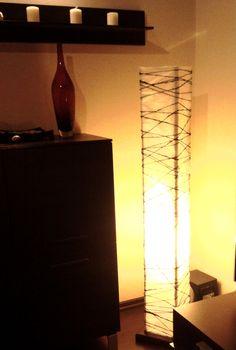 Lampa z bibuły i sznurka, stelaż zrobiony przez mojego brata, bo niestety z elektryką to ja sobie nie radzę :-)