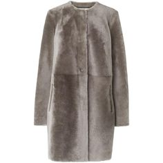 L.K. Bennett Anthea Shearling Coat ($1,500) ❤ liked on Polyvore featuring outerwear, coats, shearling coat, l.k.bennett, brown coat, short coat and brown shearling coat
