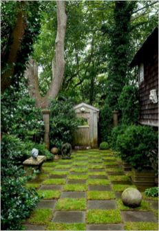 Could be moss or mondo grass doesn't have to be turf.............Best Secret Gardens Ideas 21