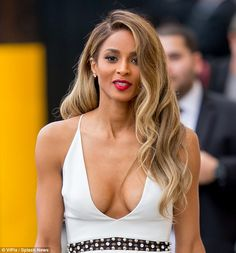 Va-va-voom! Ciara put it almost all out there as she left the Jimmy Kimmel Live! studio in Hollywood on Thursday in a white dress with a plunging neckline