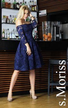 S.Moriss sukienka Scarlet midi granatowa