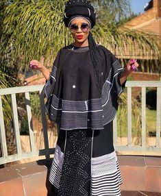 Umbhaco & Shweshwe Inspired Dress For Heritage Day. Blue Shweshwe print top and pockets, combine Xhosa Attire, African Attire, African Wear, African Traditional Dresses, African Print Fashion, Style Fashion, Eve, Fashion Dresses, Inspired