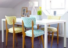 Reupholstered chairs for the kitschy. Hawaiian and mid century modern patterns would be 😍😍 Funky Furniture, Upcycled Furniture, Cheap Furniture, Furniture Projects, Vintage Furniture, Home Furniture, Chaise Vintage, Vintage Chairs, Cosy Kitchen