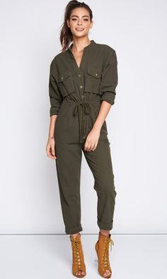 6293fa6497 Claiming Attention Olive Green Long Sleeve Button Drawstring Waist Loo – Indie  XO Drawstring Waist