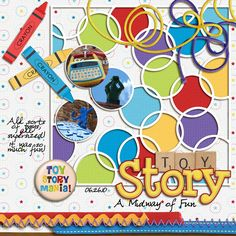 """Toy Story"" - Disney Digital Scrapbooking Page featuring ""Mania!"" by Kelly Bell Designs"
