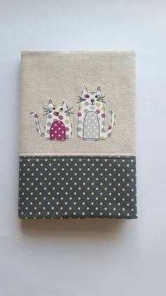 A5 fabric notebook - journal - diary cover using free motion embroidery with 2 cute cats applique, diary, sketchbook, planner GBP 11.50 by CurlyEmmaEmbroidery on Etsy