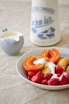 Poached summer fruit with spiced yoghurt