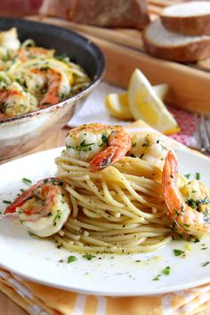 Lemon Spaghetti with shrimp