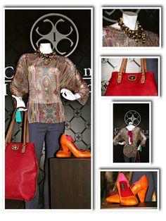 """Blusa """"Liliana"""" y jegging """"Perla"""" by Carolina Izquierdo, zapatos Ile Miranda y cartera Me Accessories"""