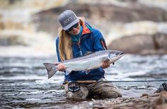 A beautiful Atlantic salmon from @lotteaulom Nice going!  #fishing #Atlantic #salmon #Canada #flyfishing #looptackle - Book your next fishing trip on Amberjack.com today.