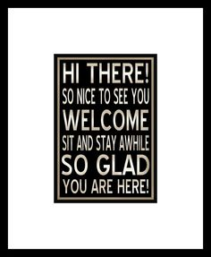 Hello and Welcome Subway Art Sign Style 5x7 Typography Print in an 11x14 mat. $20.00, via Etsy.